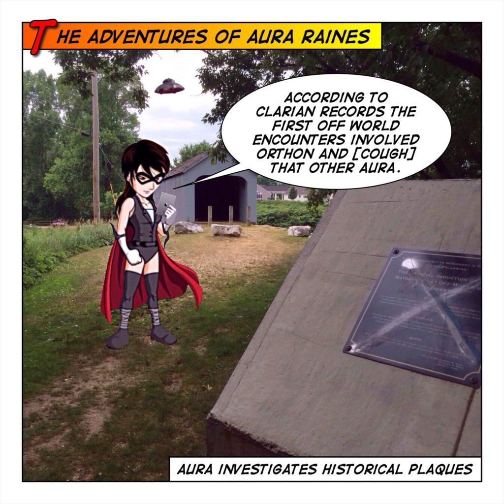 Aura looks at a Plaque